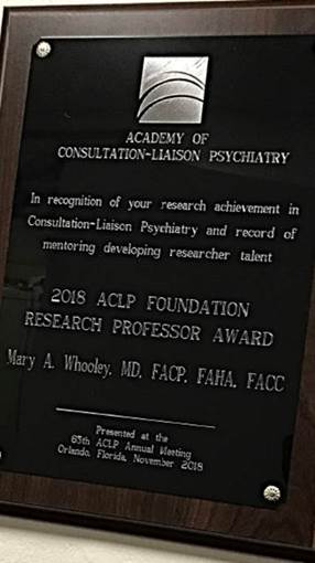 Award Plaque for Dr Whooley